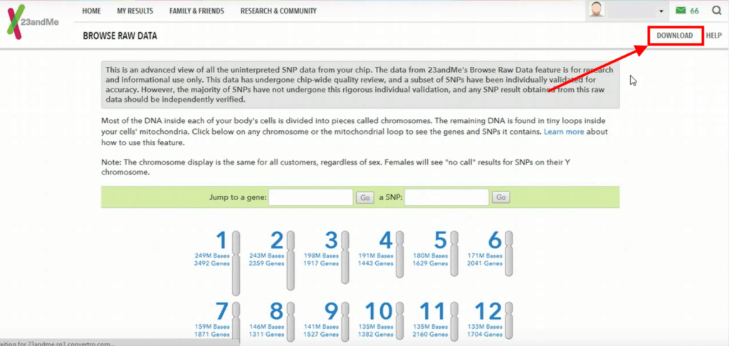 How to download your 23andme raw data