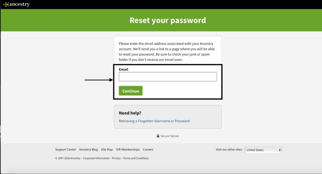 Ancestry DNA login unknown password