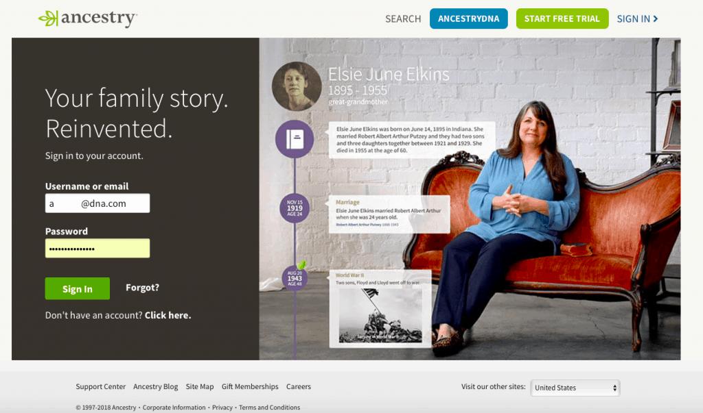 Ancestry DNA login page
