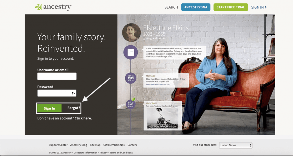 Ancestry DNA login in case you forgot your password